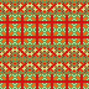 orange, red and green kilim style