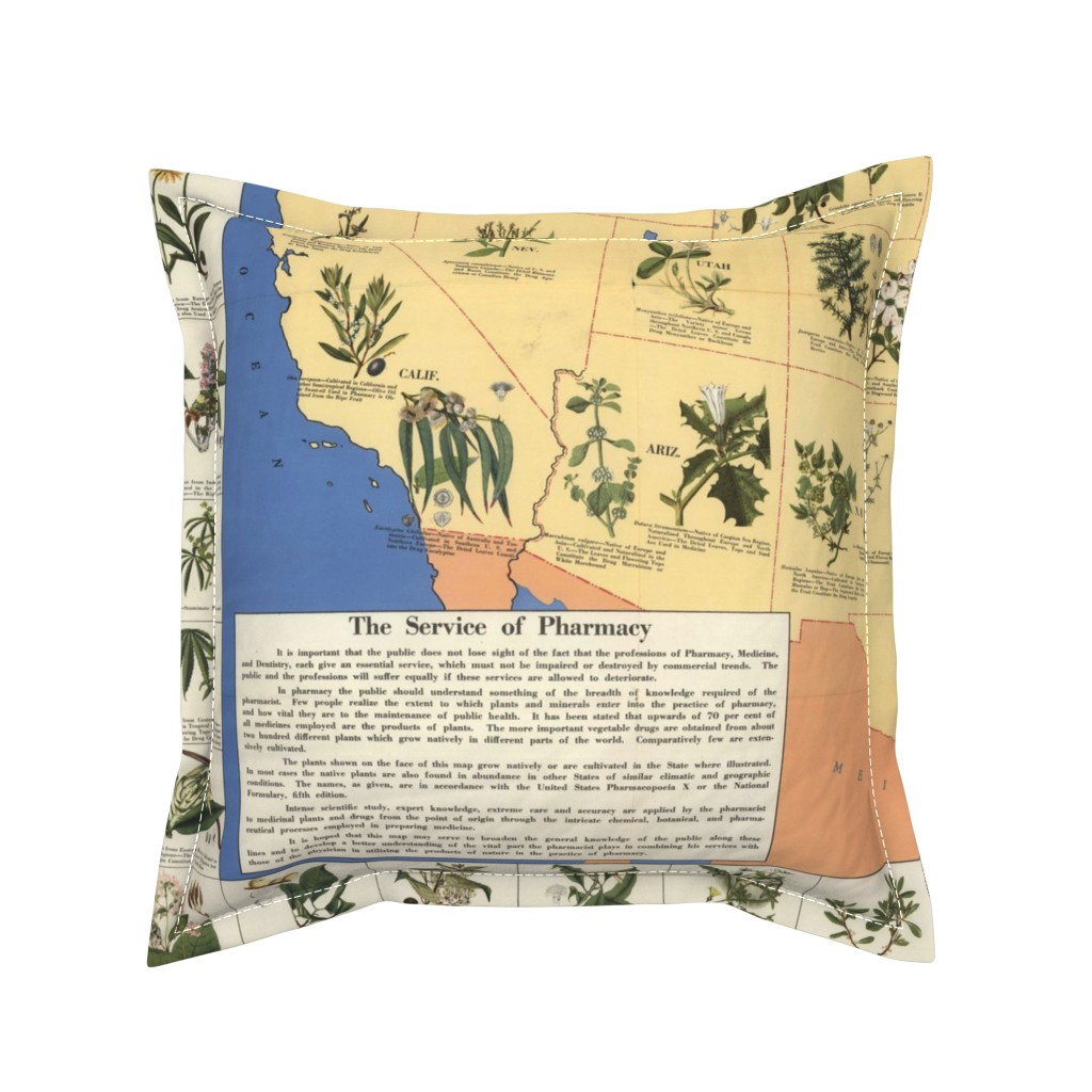 "Serama Throw Pillow featuring 1932 Medicinal Plant Map of America (54""W) by thinlinetextiles"