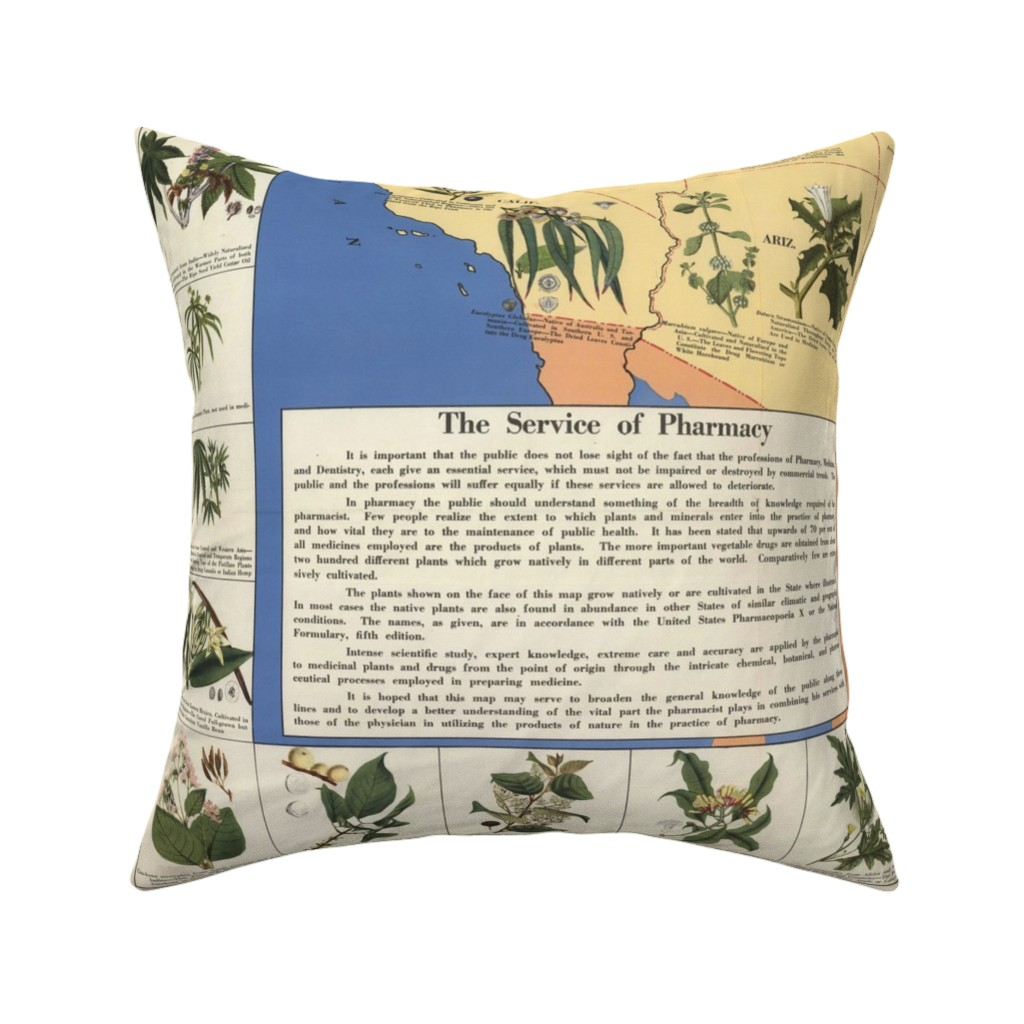 "Catalan Throw Pillow featuring 1932 Medicinal Plant Map of America (54""W) by thinlinetextiles"