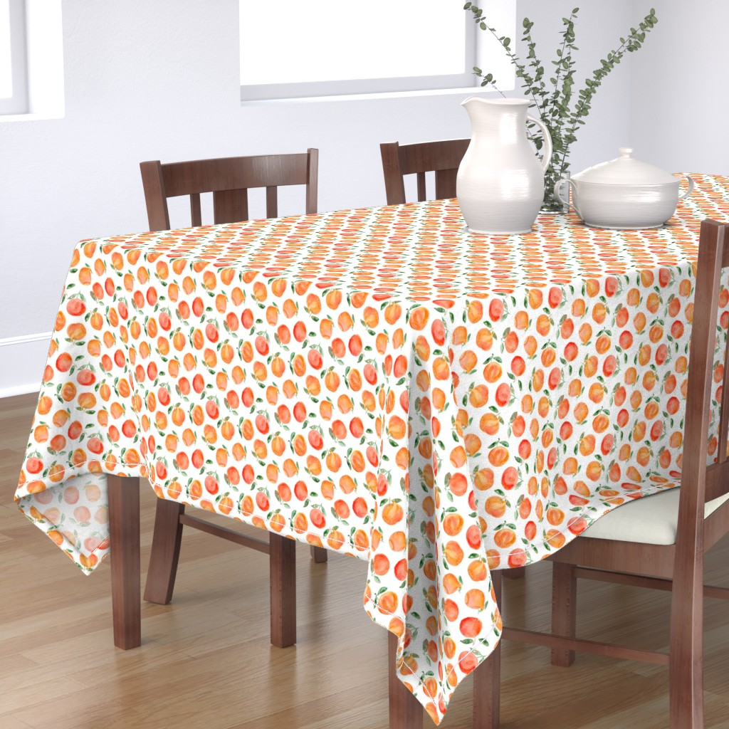 Bantam Rectangular Tablecloth featuring Watercolor oranges by katerinaizotova