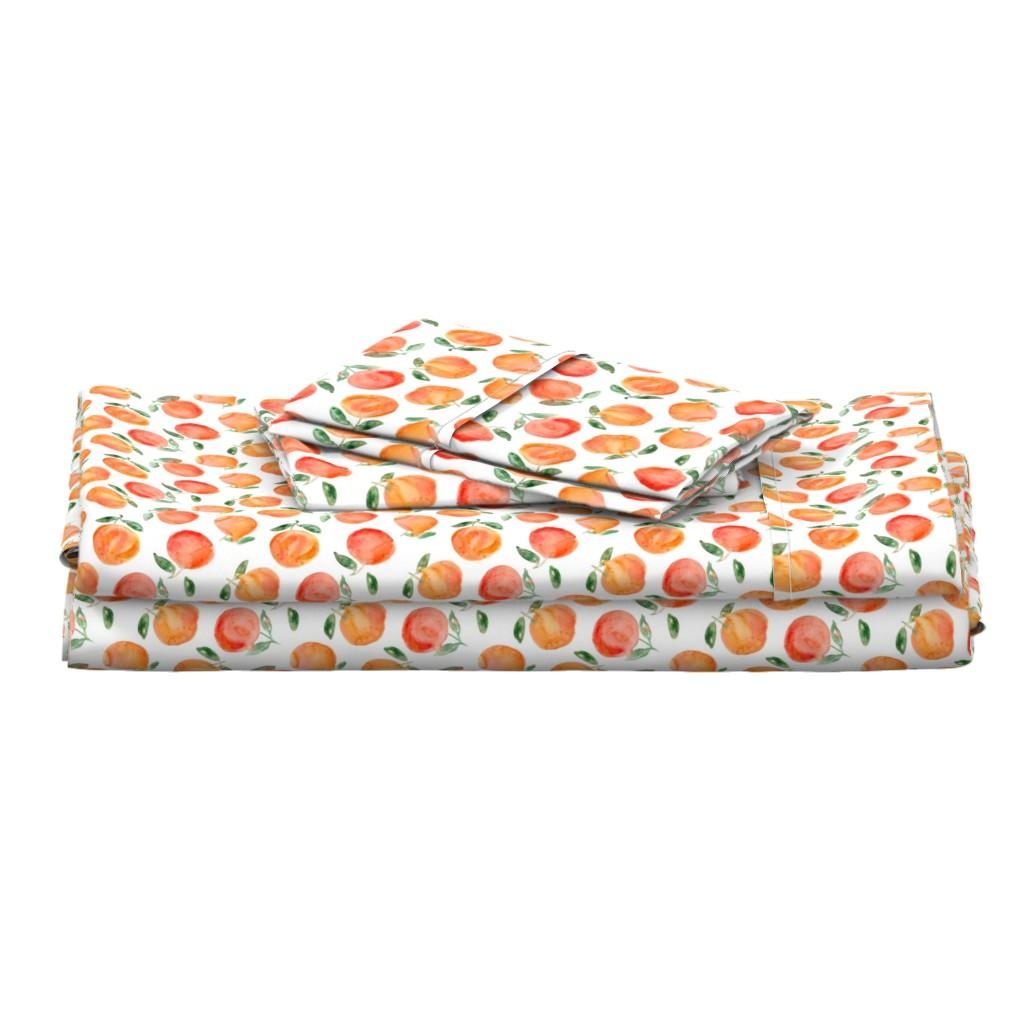 Langshan Full Bed Set featuring Watercolor oranges by katerinaizotova
