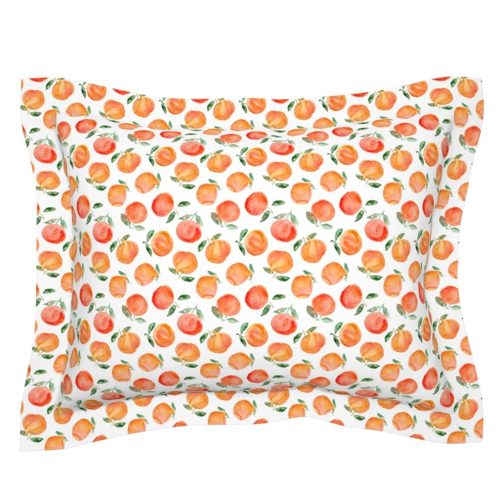 Sebright Pillow Sham featuring Watercolor oranges by katerinaizotova