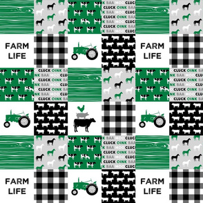 "(3"" small scale)  farm life - wholecloth green and black - woodgrain"