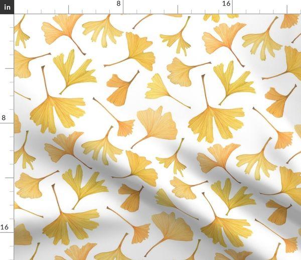 Watercolor Ginkgo Leaves Spoonflower