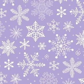 Snowflakes Winter Christmas  on Lavender Purple