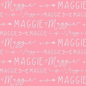 Girls Personalized Name Print // Arrow Doodle Hearts // Rose & White - Maggie