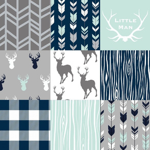 Little Man Patchwork Deer - white, navy, mint and grey