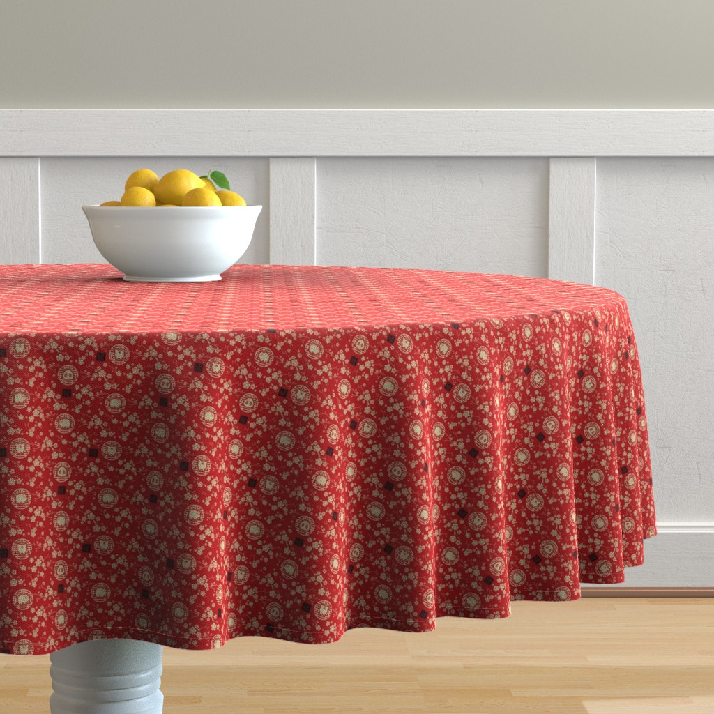 Malay Round Tablecloth featuring Chinese year of the pig red - extra small by adenaj