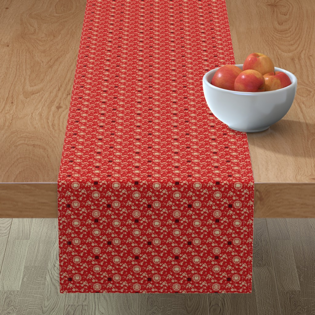 Minorca Table Runner featuring Chinese year of the pig red - extra small by adenaj