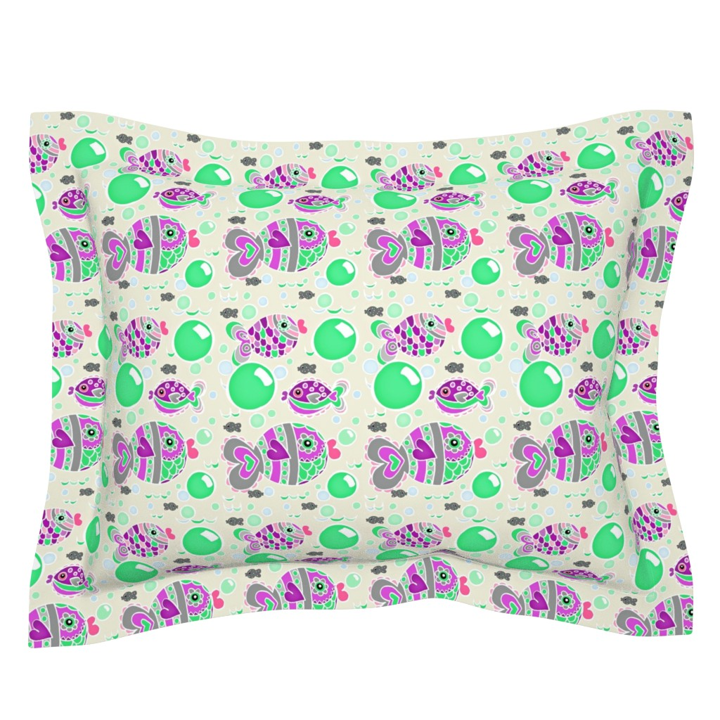 Sebright Pillow Sham featuring Swish Tail Fish /Off white w/mint bubbles  by franbail