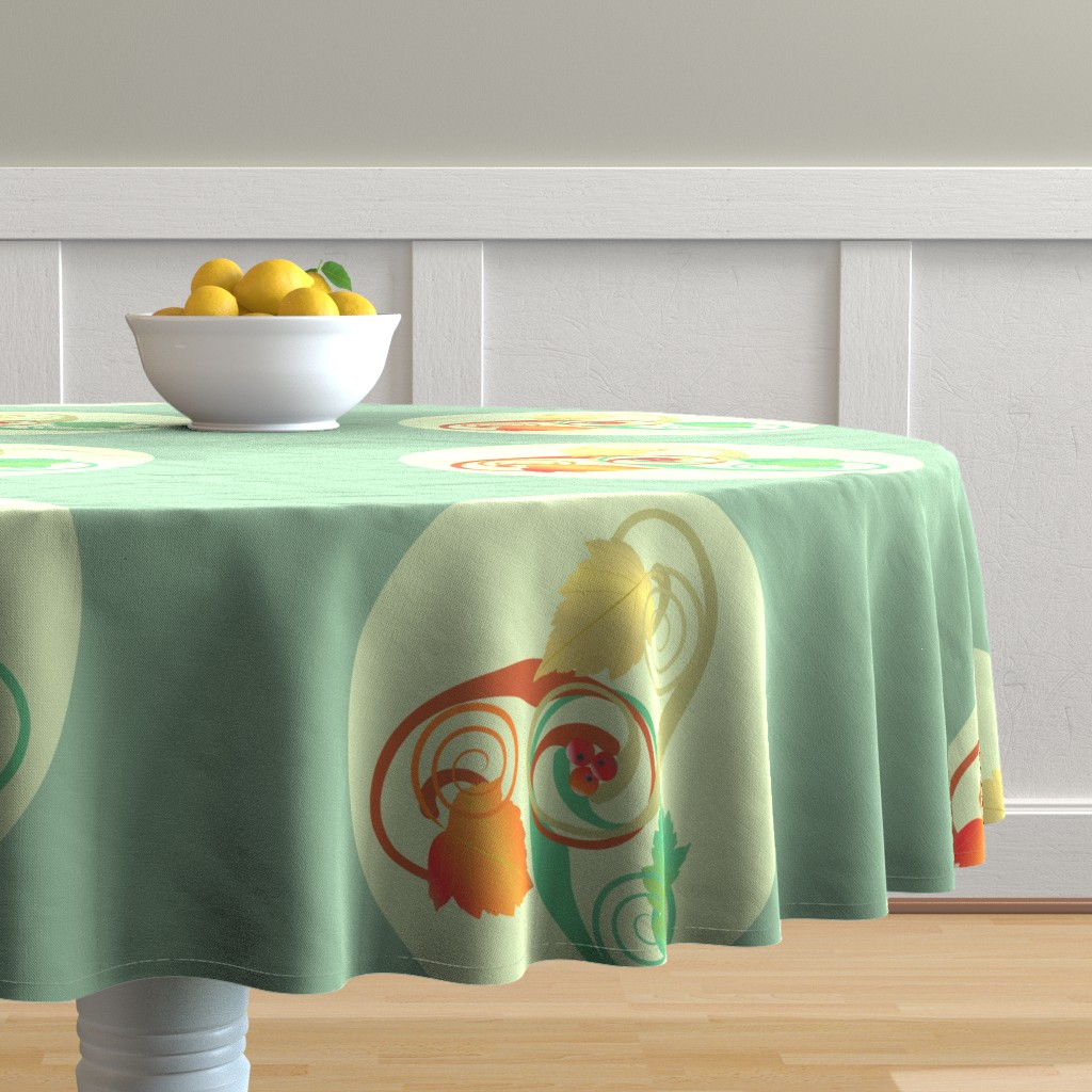 Malay Round Tablecloth featuring Three Hawthorn Leaves by magicinyourlivingroom