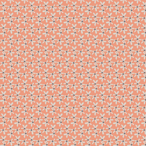 Coral & Grey Ditsy Painted Floral