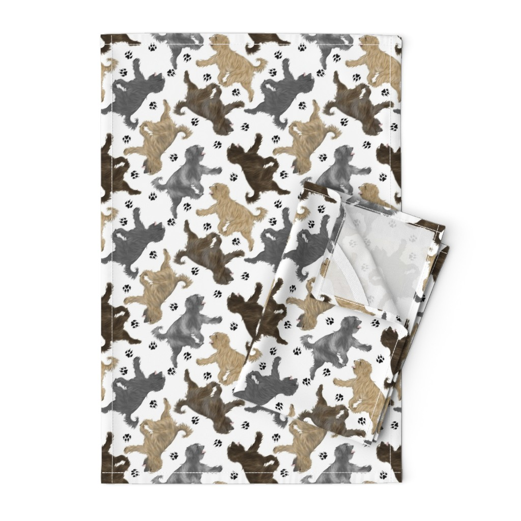Orpington Tea Towels featuring Trotting Pyrenean Shepherds rough face and paw prints B - white by rusticcorgi