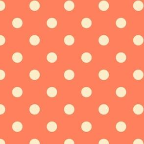 Vanilla polka dots on pumpkin orange