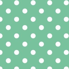 White polka dots on mint green