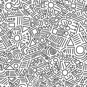 Abstract Doodles — white