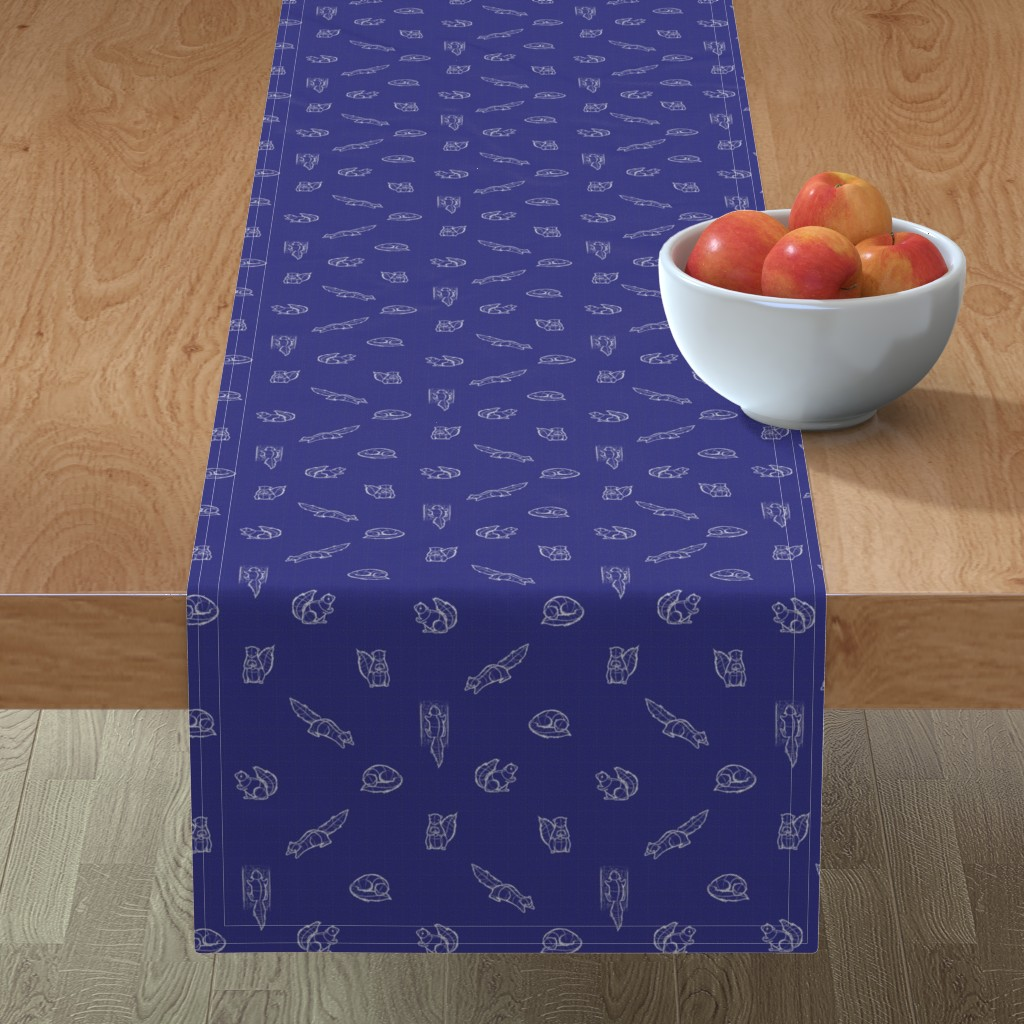 Minorca Table Runner featuring Sketchy Squirrels - White/Blue by alexaborthwick