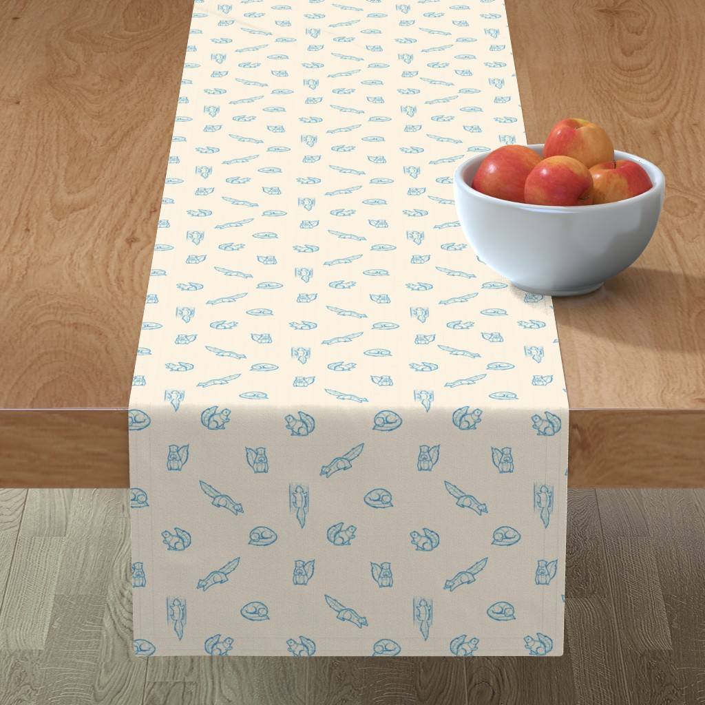 Minorca Table Runner featuring Sketchy Squirrels - Teal/Cream by alexaborthwick