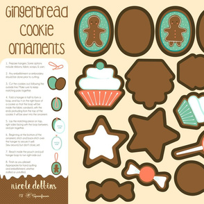 Gingerbread Cookie Ornaments Fat Quarter Project
