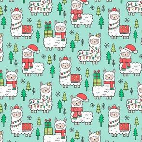 Holidays Christmas llamas on Mint Green Smaller