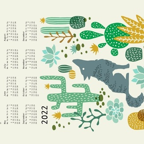 Wolf tea towel calendar 2020 mustard/green