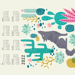 Wolf tea towel calendar 2020 teal/pink