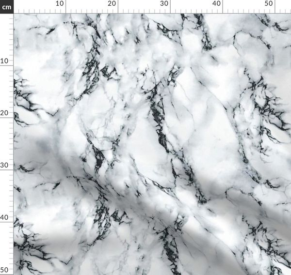 Fabric By The Yard Black White Marble Seamless Repeat