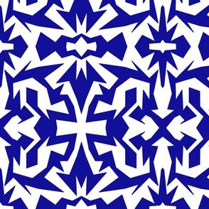 blue and white fractal mod op art