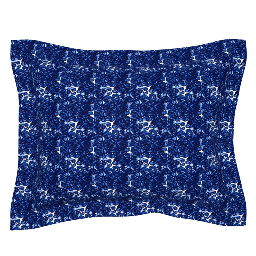 Sebright Pillow Sham featuring Blue and white sixties mod daisy floral by barbarapritchard
