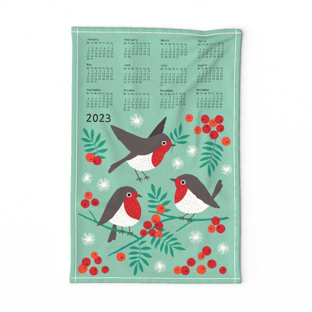 2019 Tea Towel Calendar Bird Linen Cotton by Spoonflower