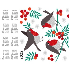Robin tea towel calendar 2020 white