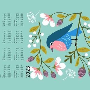 Robin Floral tea towel calendar 2021