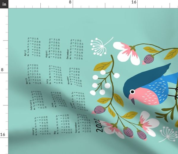 97a276eb795 Robin Floral tea towel calendar 2019 - Spoonflower