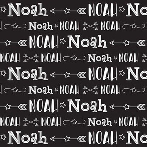 Boys Personalized Name Baby Fabric - Black - Noah