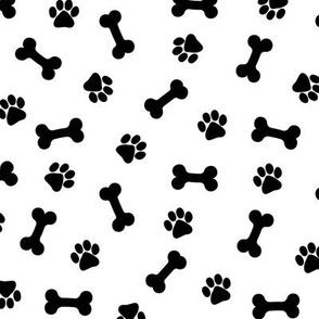 Dog Bones & Paws - Black and White