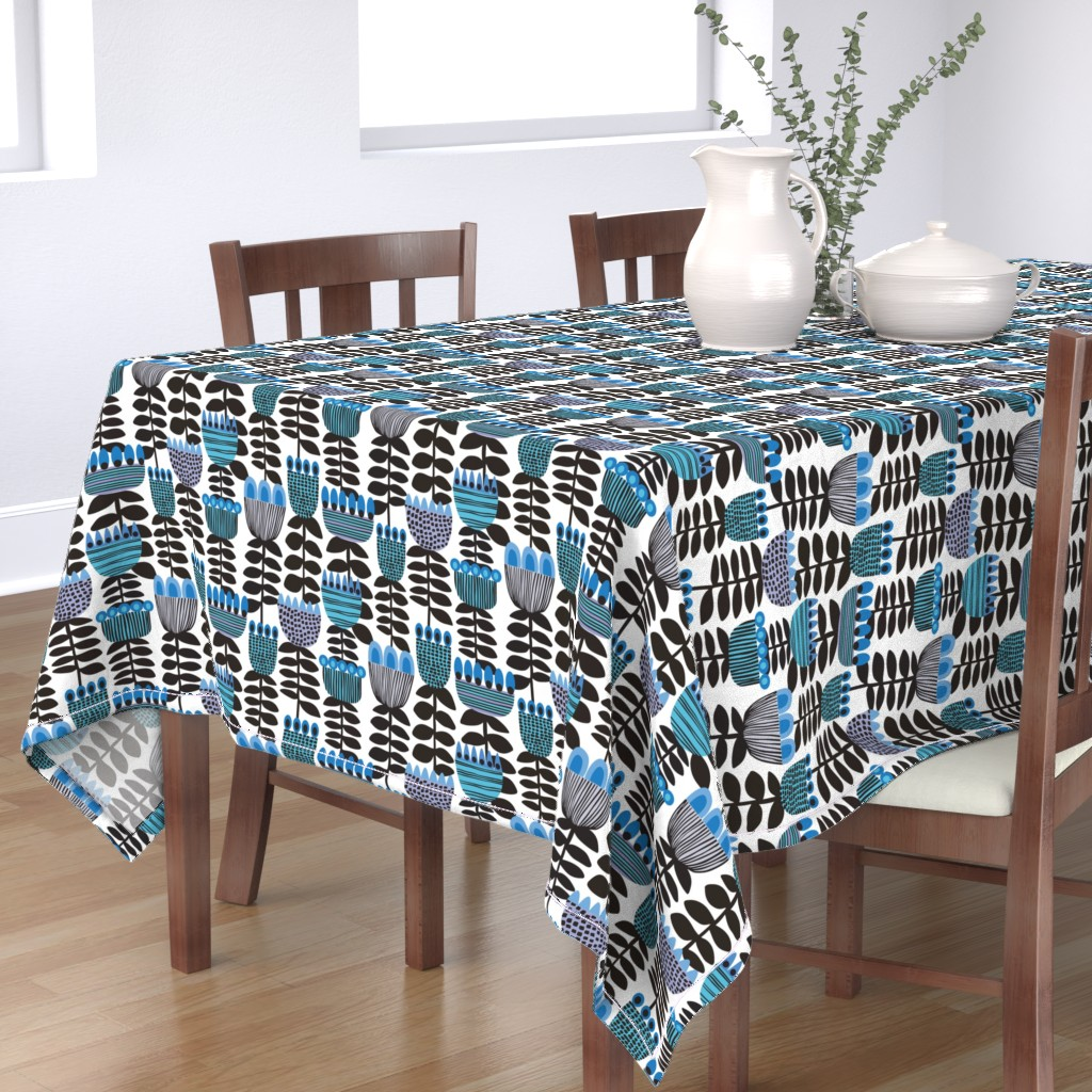 Bantam Rectangular Tablecloth featuring Tulip Time Blue & White ©Kirsten Katz by kirstenkatz