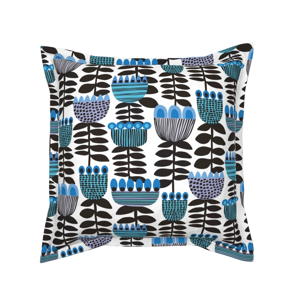 Serama Throw Pillow featuring Tulip Time Blue & White ©Kirsten Katz by kirstenkatz