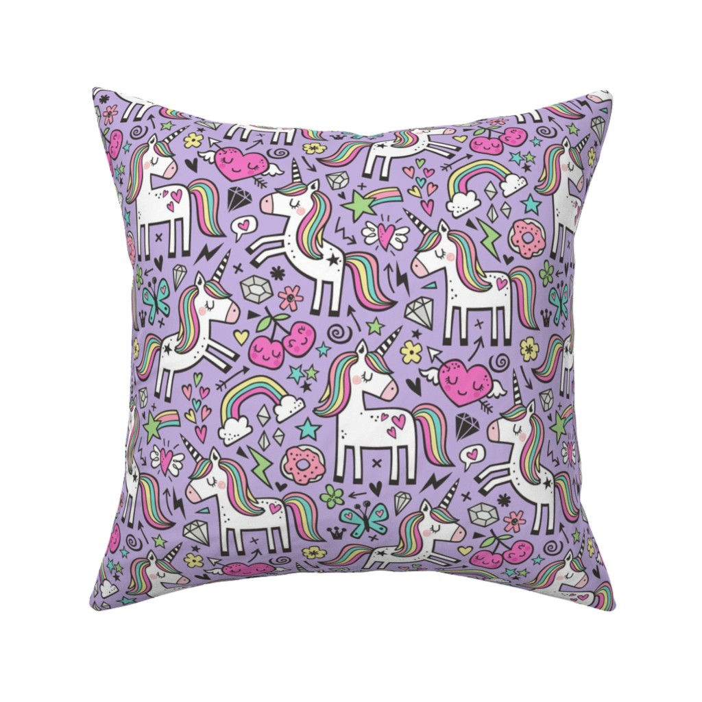 Catalan Throw Pillow featuring Unicorn & Pink Hearts Rainbow  Love Valentine Doodle on Purple Purpel by caja_design