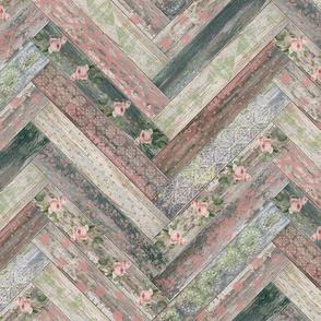 Vintage Wood Chevron Tiles Herringbone Pink Green