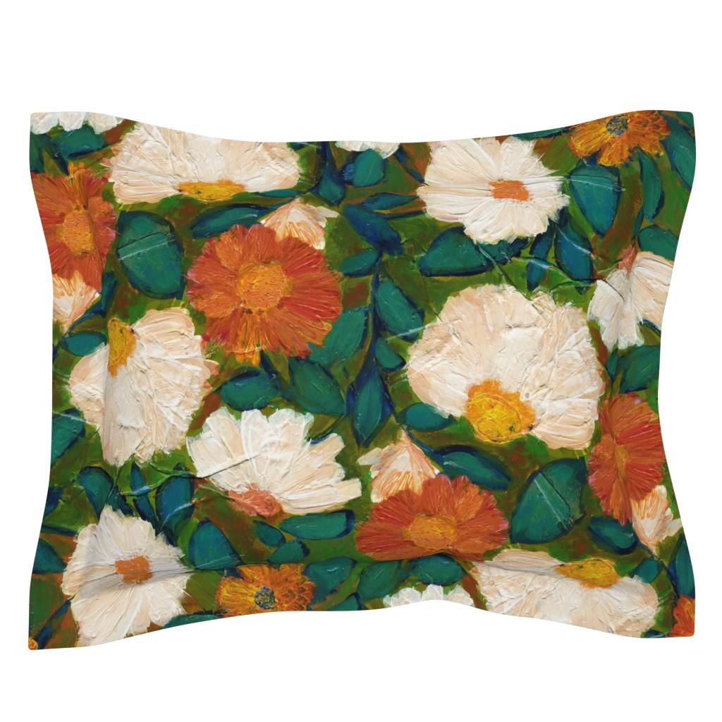 Sebright Pillow Sham featuring Evening Bloom L by delinda_graphic_studio