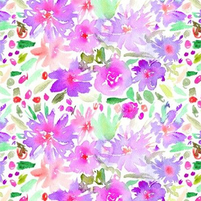 Watercolor purple floral pattern