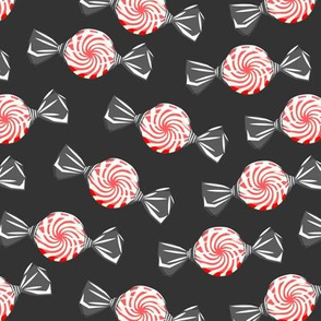 peppermint candy - red on dark grey