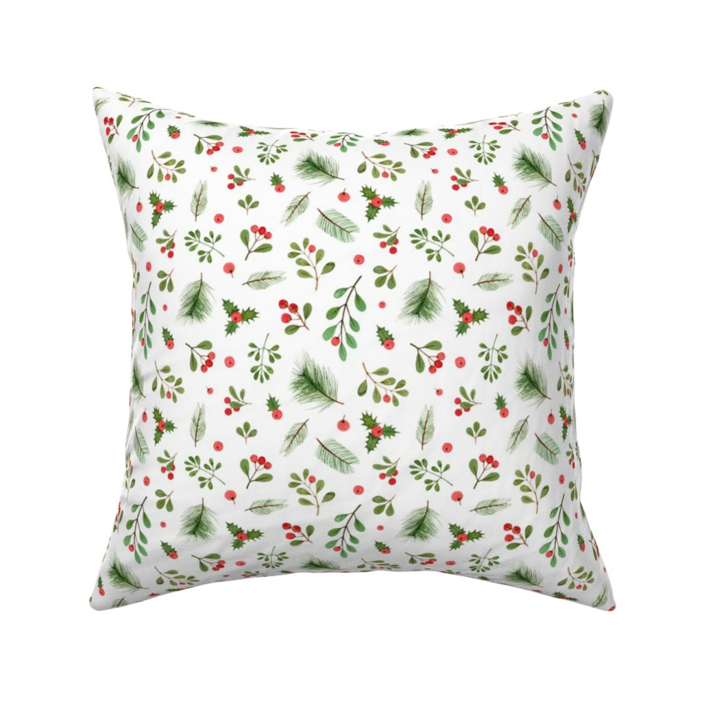 Catalan Throw Pillow featuring watercolor christmas plants by alenaganzhela