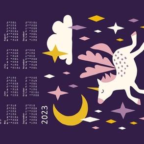 Unicorn calendar 2021 purple