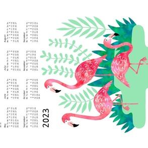 Flamingo watercolor calendar 2021
