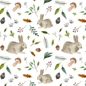 watercolor forest animal - rabbit
