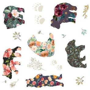 """8"""" PATCHWORK BEARS / FLORAL / 90 Degrees"""