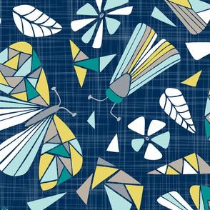 Fractal Flutter - Navy Dreams Jumbo Scale