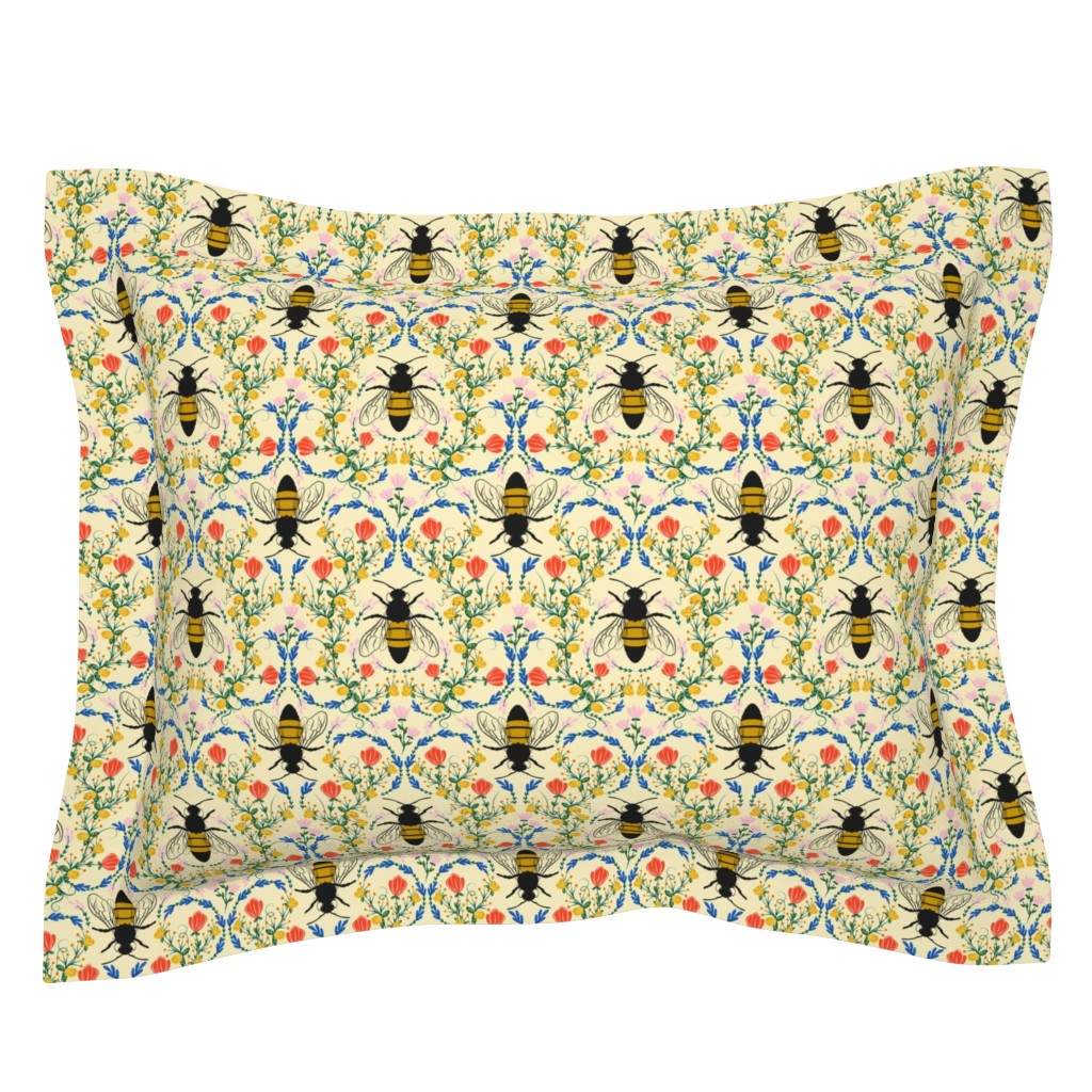 Sebright Pillow Sham featuring Bee Garden - cream by lapetitelecour
