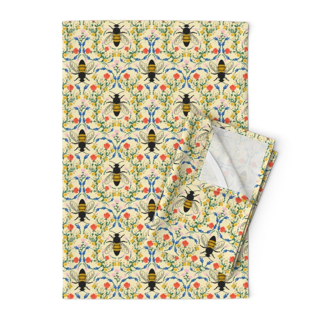 Orpington Tea Towels featuring Bee Garden - cream by lapetitelecour